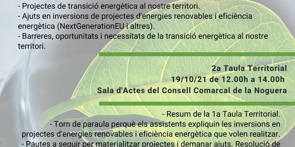 2a Taula Territorial per a la transició energètica de la Noguera i el Segrià Nord