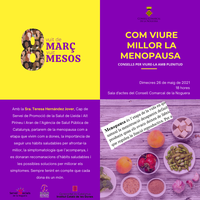 """Conferència """"COM VIURE MILLOR LA MENOPAUSA"""" amb la Sra. Teresa Hernández Jover"""