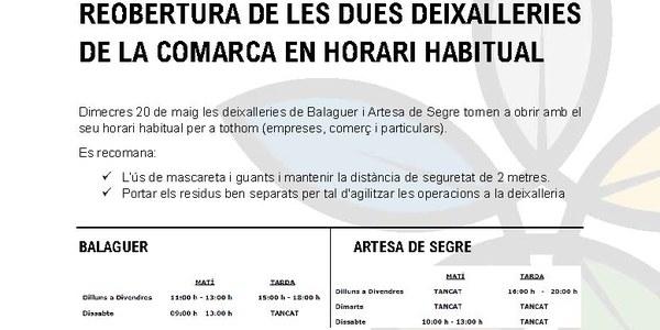 A partir del dimecres 20 de maig les deixalleries de la Noguera reprenen l'activitat normal