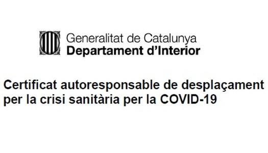Certificat autoresponsable per a desplaçaments