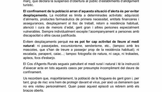Comunicat del president del Consell Comarcal de la Noguera