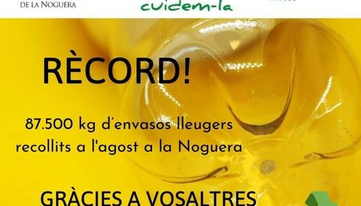 Rècord de quilos recollits d'envasos lleugers a la Noguera durant aquest mes d'agost