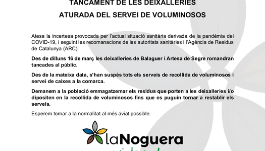 Se suspenen els serveis de Deixalleria i recollida de voluminosos a la Noguera