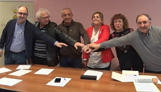 Signatura de l'addenda al conveni de col·laboració entre la Comarca de la Ribagorza i el Consell Comarcal de la Noguera per al manteniment de la passarel·la de Mont-rebei