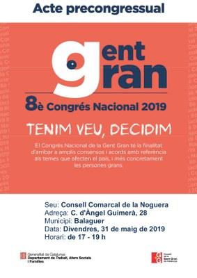 Acte precongressual al 8è Congrés Nacional de la Gent Gran 2019