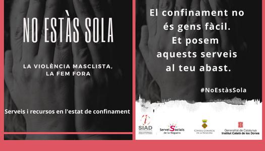 """Crida del SIAD del Consell Comarcal de la Noguera a difondre la guia """"No estàs sola. La violència masclista, la fem fora"""""""