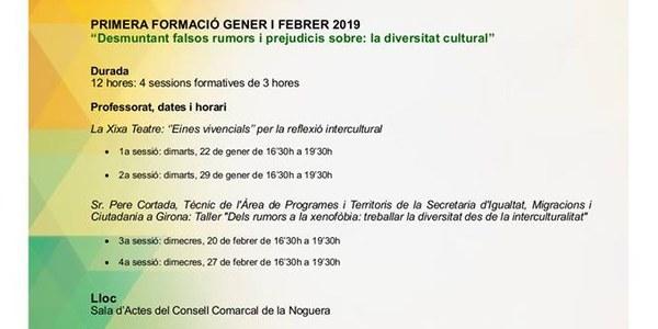 """Formació """"Desmuntem els falsos rumors i prejudicis sobre la diversitat cultural"""" organitzada pels Serveis Socials del Consell Comarcal de la Noguera"""
