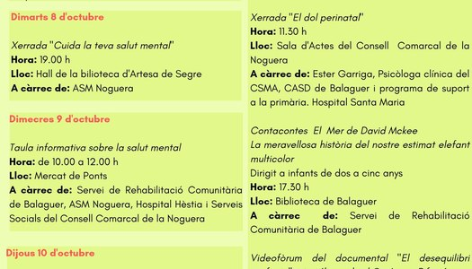 La Taula per la Salut Mental de la Noguera organitza activitats a la comarca pel Dia de la Salut Mental