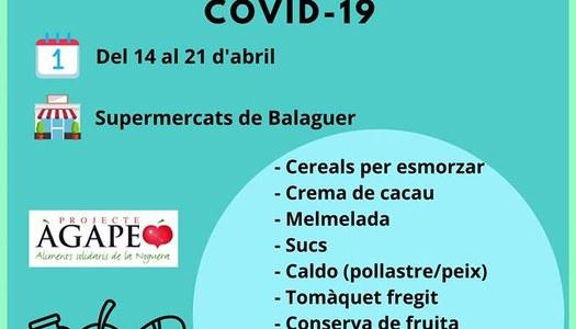Recollida solidària d'aliments per a famílies de la Noguera del 14 al 21 d'abril als supermercats de Balaguer